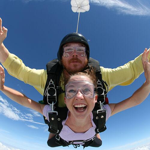Dr. Juntgen, a Carmel pediatric dentist, trying out skydiving!